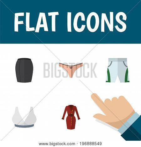 Flat Icon Garment Set Of Trunks Cloth, Lingerie, Clothes And Other Vector Objects