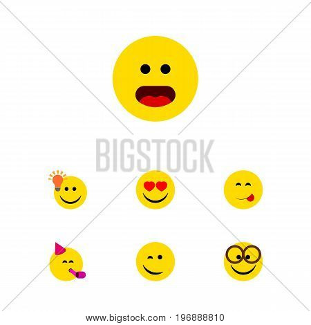 Flat Icon Face Set Of Love, Winking, Pleasant And Other Vector Objects