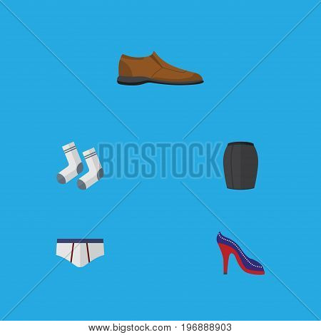 Flat Icon Dress Set Of Stylish Apparel, Male Footware, Underclothes And Other Vector Objects