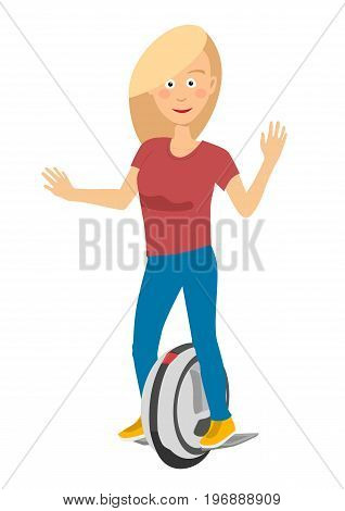 Young girl riding a self balancing unicycle electric scooter isolated over white background