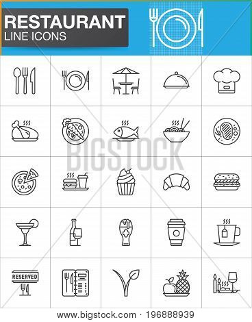 Restaurant line icons set, outline vector symbol collection, linear style pictogram pack. Signs, logo illustration. Set includes icons as food, cutlery, menu, dishware, dessert, steak, drink vegan