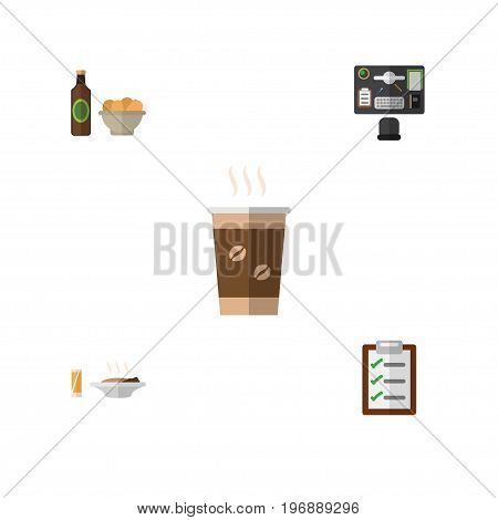 Flat Icon Oneday Set Of Bureau, Lunch, Questionnaire And Other Vector Objects