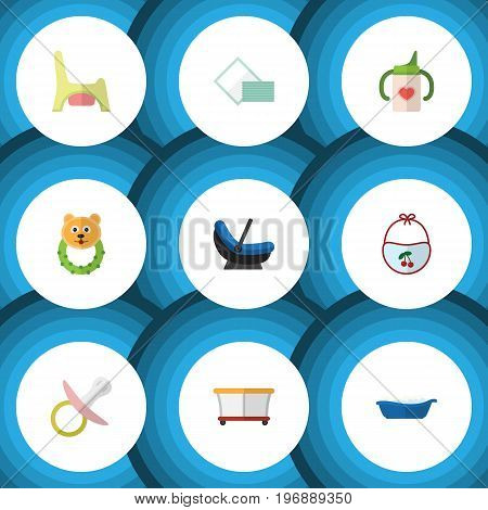 Flat Icon Kid Set Of Pram, Nursing Bottle, Playground And Other Vector Objects