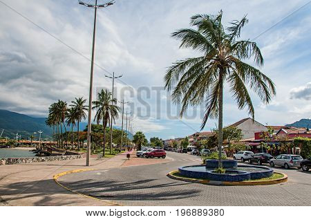 São Sebastião, Brazil - January 26, 2015. View of street and promenade in São Sebastião, a nice seaside town with several tropical beaches close by. Located in the São Paulo State, southwestern Brazil