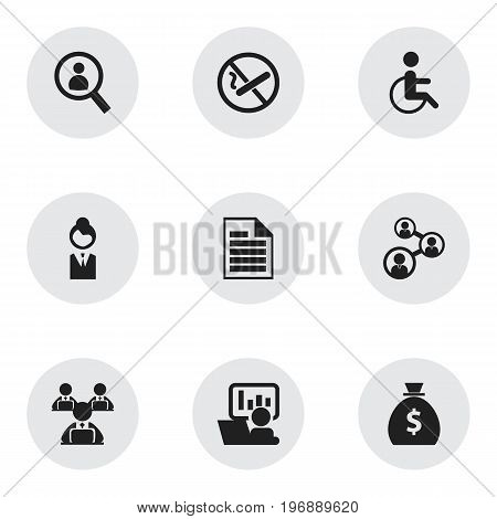 Set Of 9 Editable Bureau Icons. Includes Symbols Such As Publicity, Money Bag, Staff And More