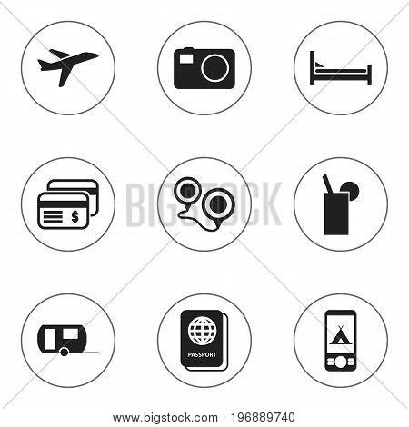 Set Of 9 Editable Travel Icons. Includes Symbols Such As Lemonade, Camera, Vacation And More