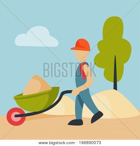 Construction site worker handcart industry equipment architecture building business development vector illustration. House making industrial city machinery housing.