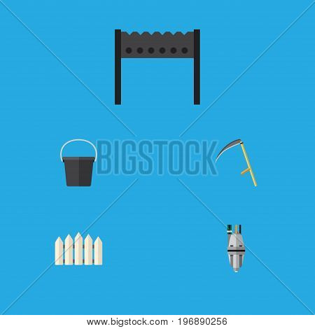 Flat Icon Dacha Set Of Wooden Barrier, Cutter, Barbecue And Other Vector Objects