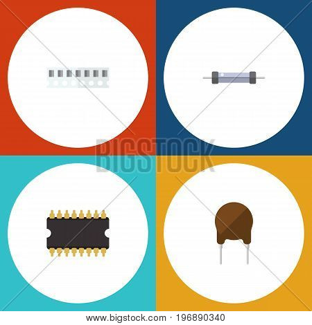Flat Icon Electronics Set Of Microprocessor, Triode, Resistor And Other Vector Objects