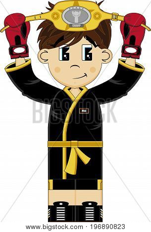 Cute Cartoon Prize Fighter Boxer with Title Belt