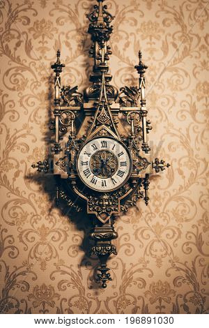 Anyique vintage wall clock, retro toned, vertical image