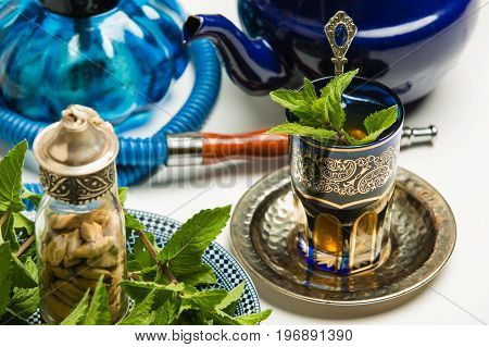 Traditional Arab Mint Tea, White Background