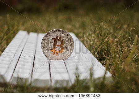 Bitcoin Keyboard In Grass