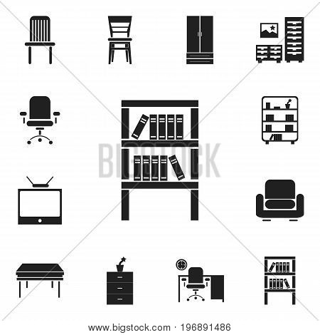 Set Of 12 Editable Furniture Icons. Includes Symbols Such As Trestle, Recliner, Bookshelf And More