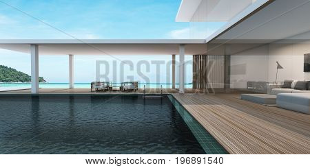 Outdoor Beach chair in pool villa background take view sea with livingroom -3D render