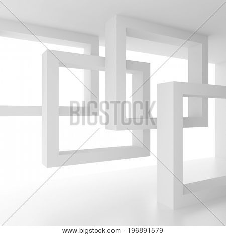 Abstract Interior Concept. White Modern Room with Window. 3d Illustration