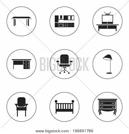 Set Of 9 Editable Furnishings Icons. Includes Symbols Such As Illuminant, Ergonomic Seat, Tv And More