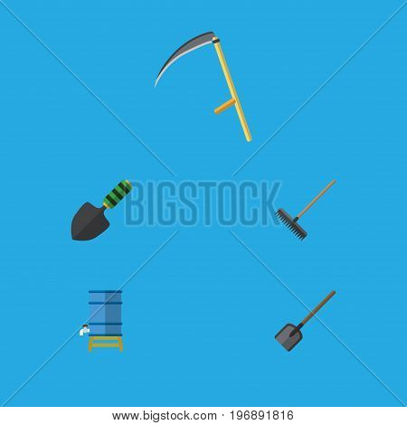 Flat Icon Farm Set Of Harrow, Shovel, Trowel And Other Vector Objects