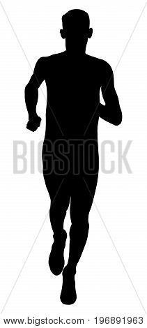 young athlete middle distance runner black silhouette
