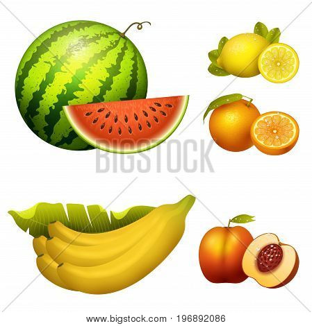 Ripe striped watermelon fruits slice realistic juicy banana healthy vector illustration. Slice green isolated ripe melon. Vegetarian diet freshness lemon dessert. Water refreshment delicious fruit.
