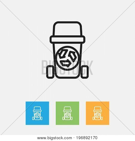 Vector Illustration Of Cleaning Symbol On Recycling Bin Outline