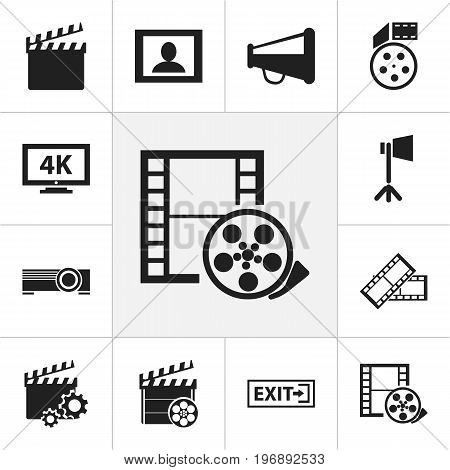 Set Of 12 Editable Filming Icons. Includes Symbols Such As Reel, Ultra Display, Camera Tape And More