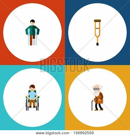 Flat Icon Cripple Set Of Injured, Stand, Disabled Person Vector Objects