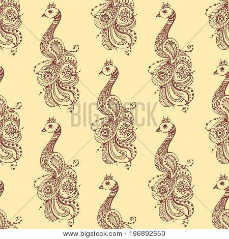 Henna tattoo brown mehndi flower template doodle ornamental lace decorative element and indian design seamless pattern paisley arabesque mhendi embellishment vector. Traditional decorative mandala.