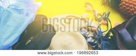 Woman Accessories To Beach Season Holiday Concept