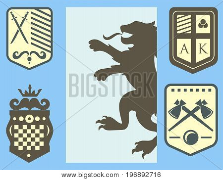 Heraldic lion royal crest medieval knight silhouette vintage king symbol heraldry castle badge vector illustration. Historical insignia crown luxury ornament graphic.