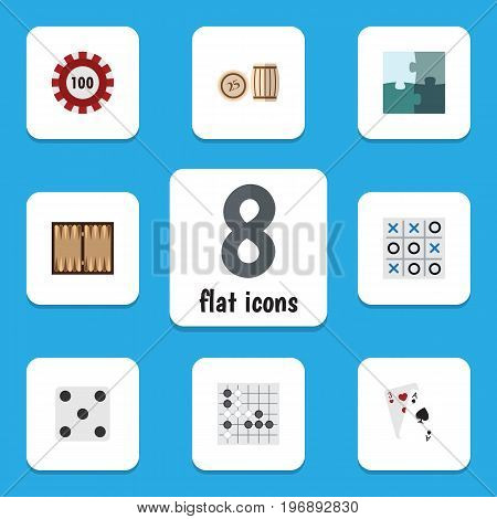 Flat Icon Entertainment Set Of Gomoku, Ace, Dice And Other Vector Objects
