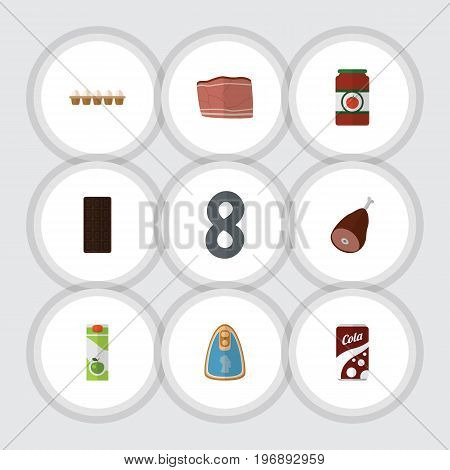 Flat Icon Meal Set Of Confection, Meat, Fizzy Drink And Other Vector Objects