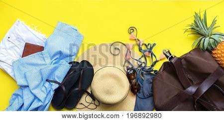 Set Of Woman's Things Accessories To Beach Season