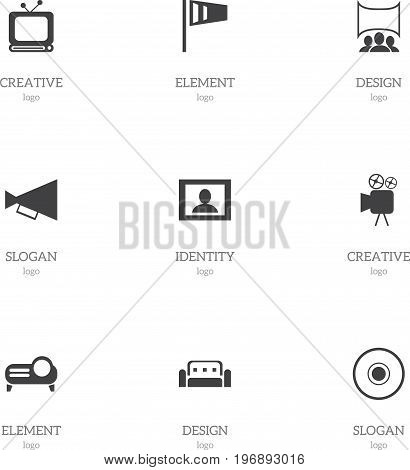 Set Of 9 Editable Cinema Icons. Includes Symbols Such As Compact Disk, Pennant, Couch And More