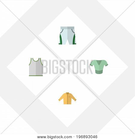 Flat Icon Garment Set Of Casual, Trunks Cloth, Singlet And Other Vector Objects