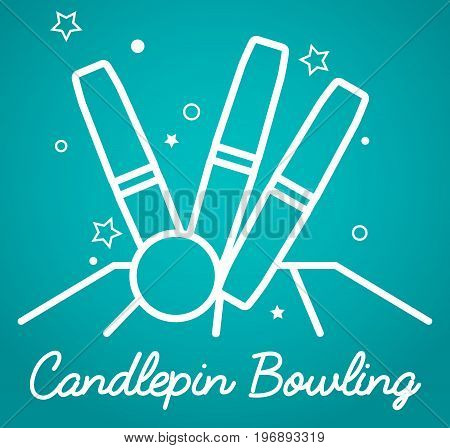 Candlepin bowling simple vector illustration schematic logo