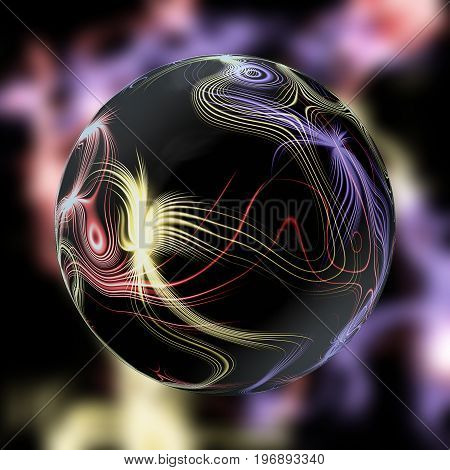 Luminous dark magic ball with plasma beams. Black glowing ball with spectral rays on a blurred background