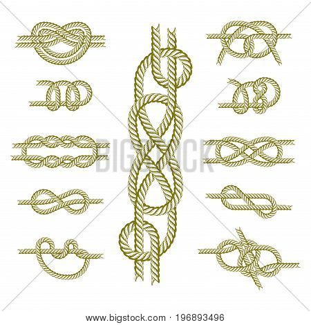 Navy blue rope with marine knots white pattern vector. Sea boat shipping natural tackle sign vessel. Yacht white navy cable sea boat knots lashing bend net string design. poster
