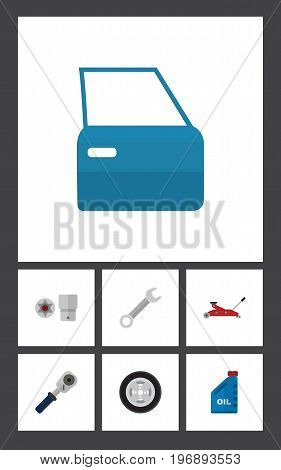 Flat Icon Auto Set Of Petrol, Tire, Automobile Part And Other Vector Objects