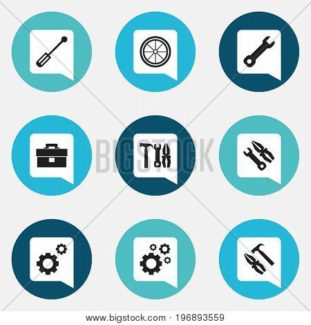 Set Of 9 Editable Tool Icons. Includes Symbols Such As Portfolio, Screwdriver, Instrument And More