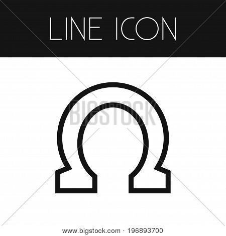 Horseshoe Vector Element Can Be Used For Horseshoe, Metal, Shoe Design Concept.  Isolated Lucky Element Outline.
