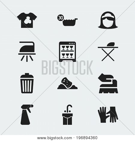 Set Of 12 Editable Cleanup Icons. Includes Symbols Such As Sink, Unclean Blouse, Cold Water And More