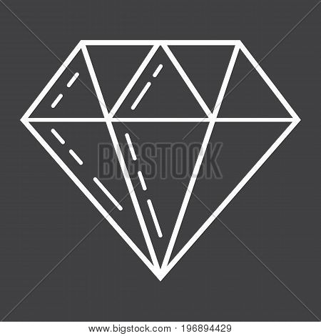 Diamond line icon, business and finance, gem sign vector graphics, a linear pattern on a black background, eps 10.