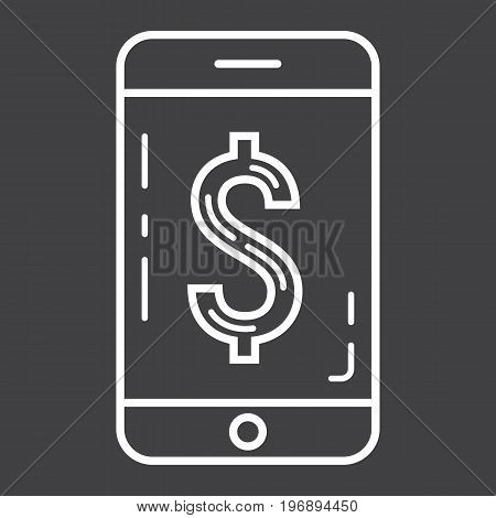 Mobile banking line icon, business and finance, phone sign vector graphics, a linear pattern on a black background, eps 10.