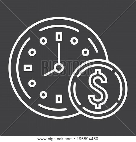 Time Is Money line icon, business and finance, coin sign vector graphics, a linear pattern on a black background, eps 10.