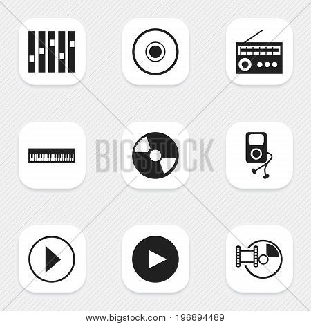 Set Of 9 Editable Audio Icons. Includes Symbols Such As Musical Gadget, Disc, Retro Tuner And More