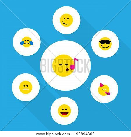 Flat Icon Face Set Of Cold Sweat, Party Time Emoticon, Descant And Other Vector Objects