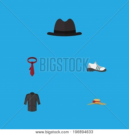 Flat Icon Garment Set Of Uniform, Cravat, Sneakers And Other Vector Objects