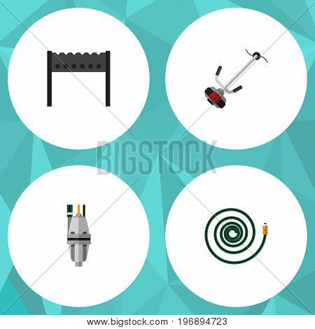 Flat Icon Farm Set Of Hosepipe, Pump, Grass-Cutter And Other Vector Objects