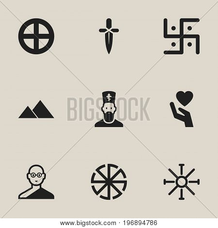 Set Of 9 Editable Religion Icons. Includes Symbols Such As Religious Sign, Save Love, Poniard And More